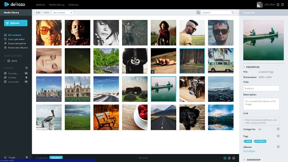 Defrozo Free Photo Platform Media Library