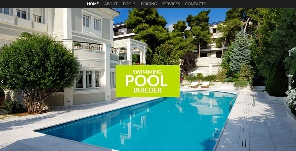 Responsive Background - Pool Company Website Template