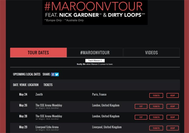 Maroon 5 Band Website Design