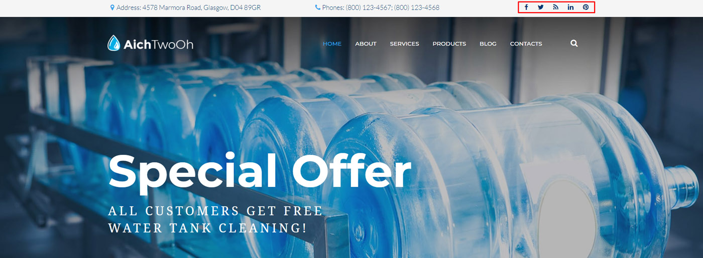Water Company Website Template