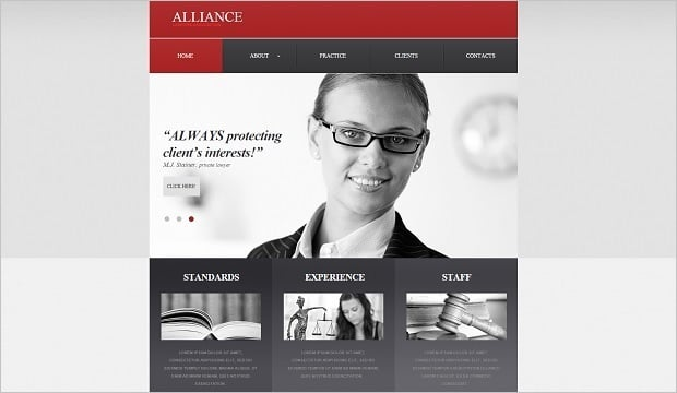 Legal Website Design - Grey-red Law Firm Web Template