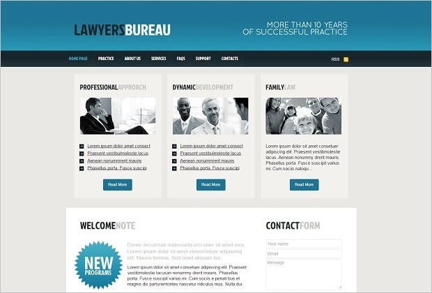 Legal Website Design - Legal Website Template with Blue Header