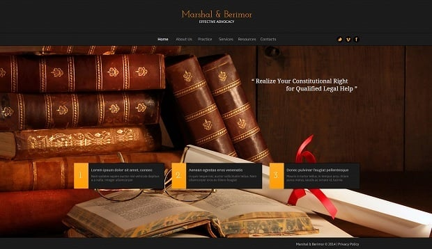 Legal Website Design - Classy Legal Web Template with Photo Background