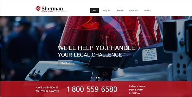 Legal Website Design - Law Firm Web Template with Hero Header