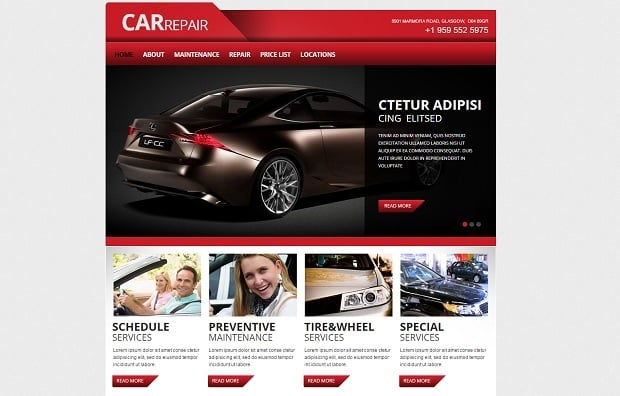 car repair website templates take your auto service online. Black Bedroom Furniture Sets. Home Design Ideas