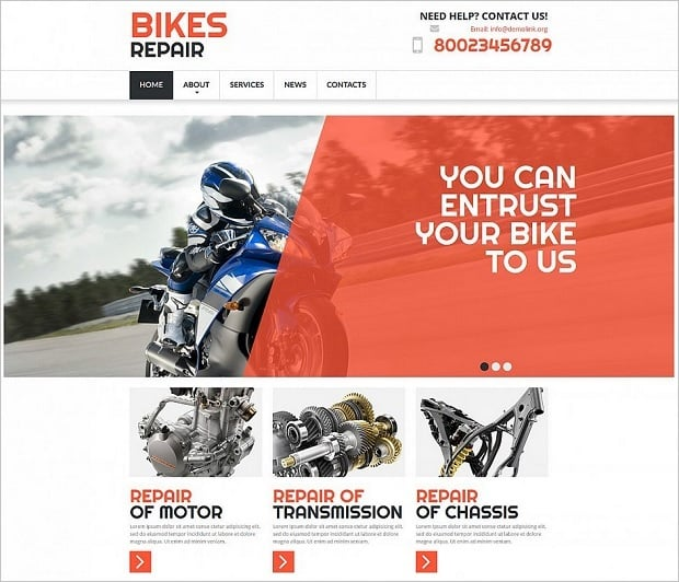Car Repair Website Templates - bike