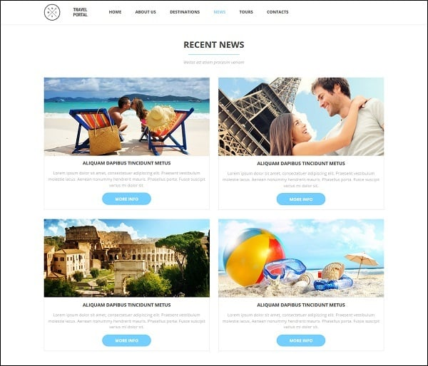 travel website templates - white background
