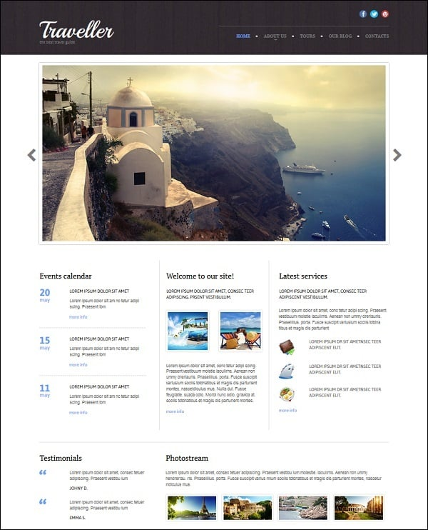travel website templates - home page