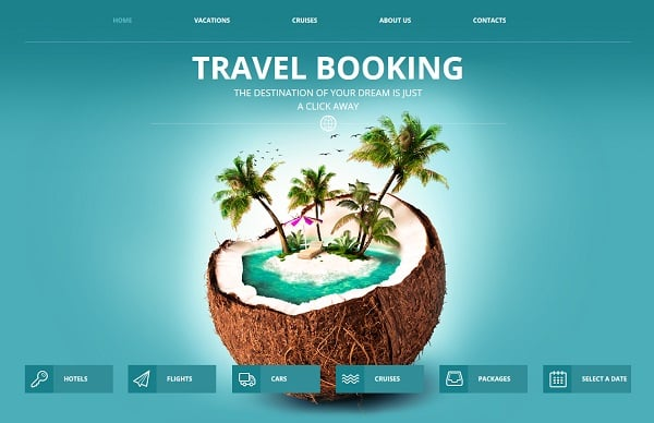 travel website templates - coconut background
