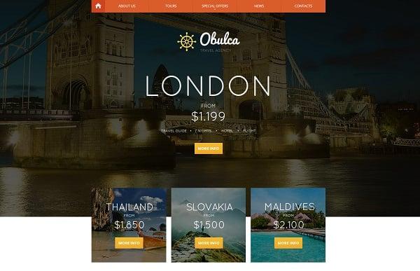 travel website templates - orange menu