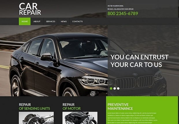 Bestselling website templates summer 2015 - car template