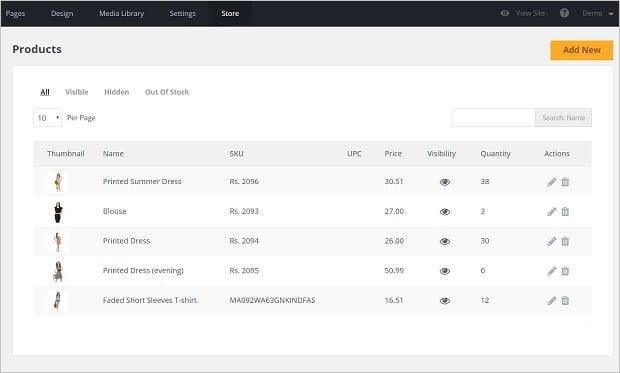 MotoCMS E-commerce Plugin - products
