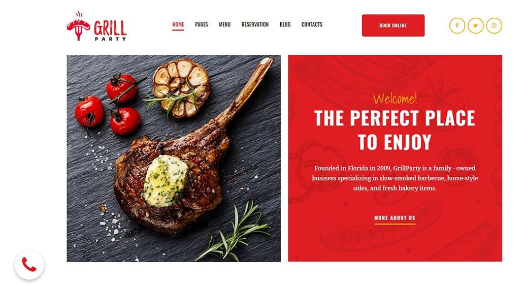 красный сайт ресторана