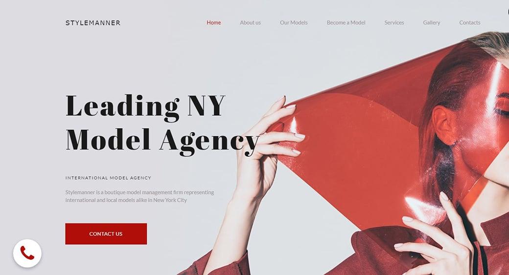 красный сайт фотографа и модельного агенства