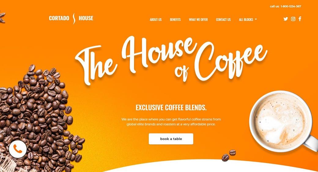 желтый сайт кофейни