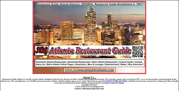 User interface design - restaurantguideatlanta