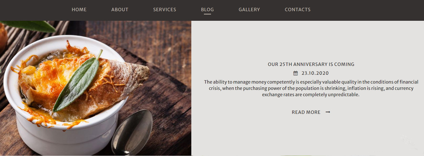 Restaurant MotoCMS Template With Blog Functionality