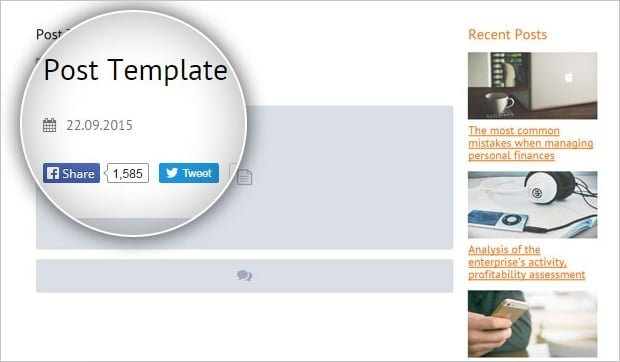 MotoCMS templates with blog - post creation