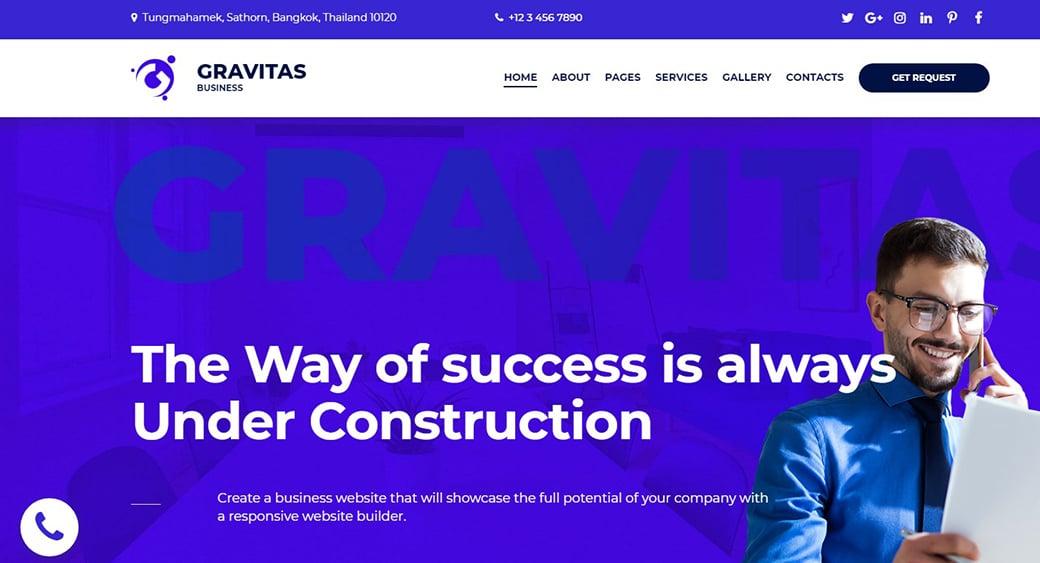 Blau business website design gravitas