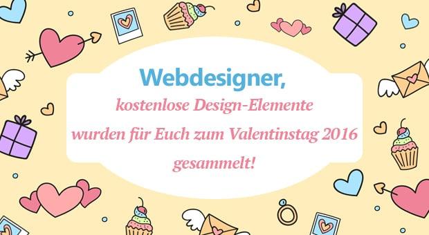Kostenlose Design Elemente zum Valentinstag-2016 für eure Website