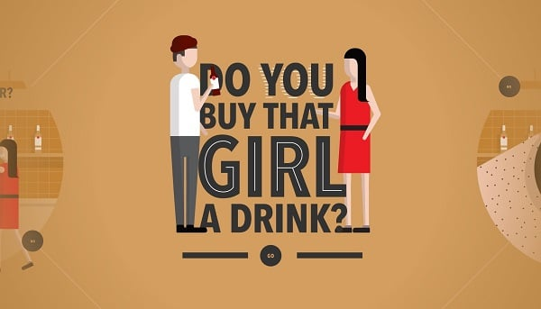 Flat Design gegen Material Design - do you buy girl drink