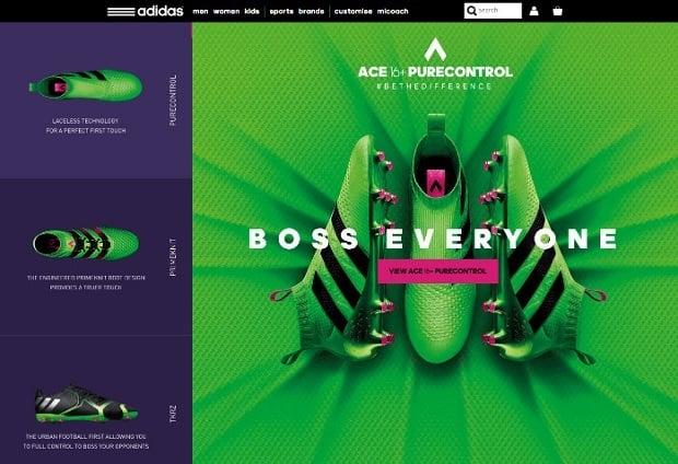 Kräftige Farben als Webdesign-Trend 2016 - adidas