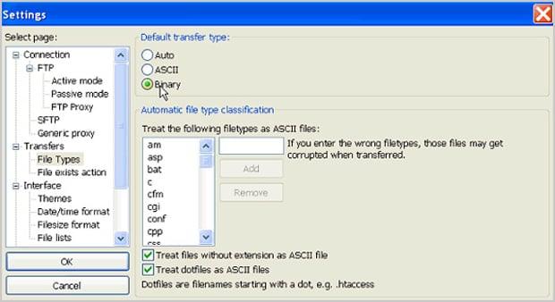 Häufigsten Fehler Moto CMS - filetypes binary
