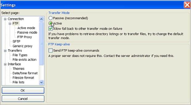Типичные ошибки пользователей Moto CMS - connection_ftp_active