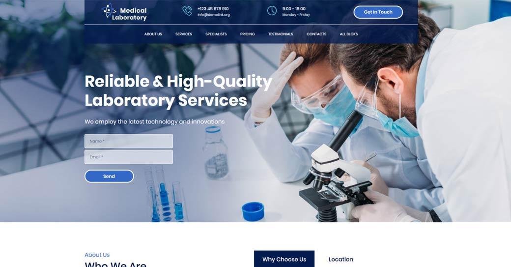 einseitige Website für ein Labor