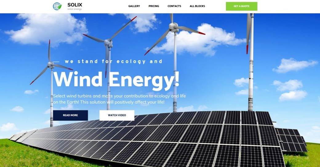 einseitige Website für ein windkraft unternehmen