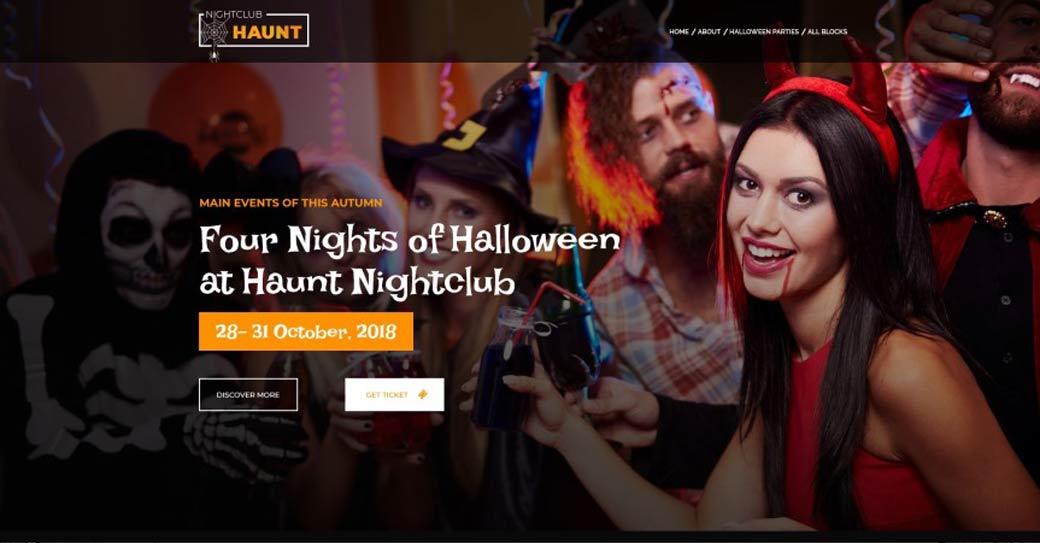 einseitige Website für eine halloween party