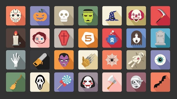 halloween-decorations-flat-icons