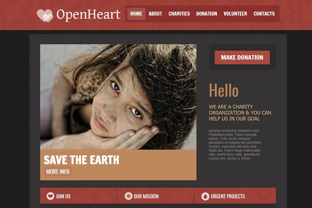 HTML шаблон сайта Open Heart html изображение