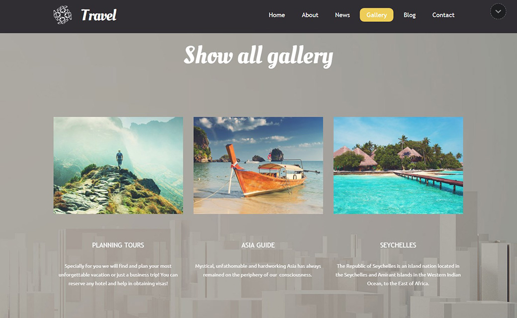Адаптивный шаблон сайта Travel красивая галерея изображений