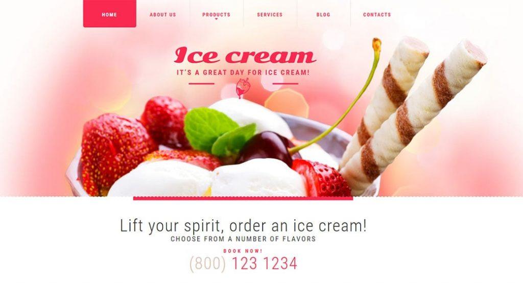 Website Vorlage für ein Eiscafé