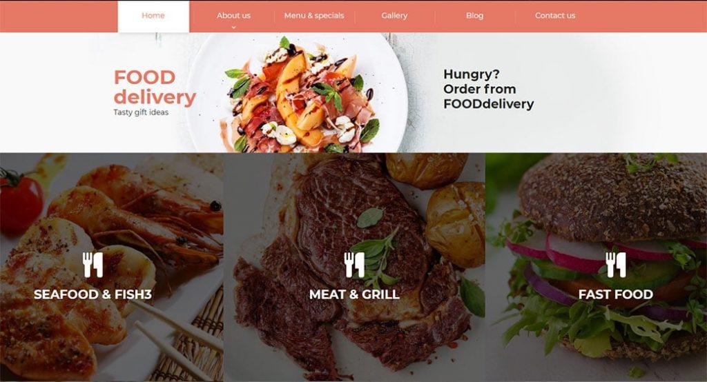 Homepage Vorlage für einen Food Lieferservice