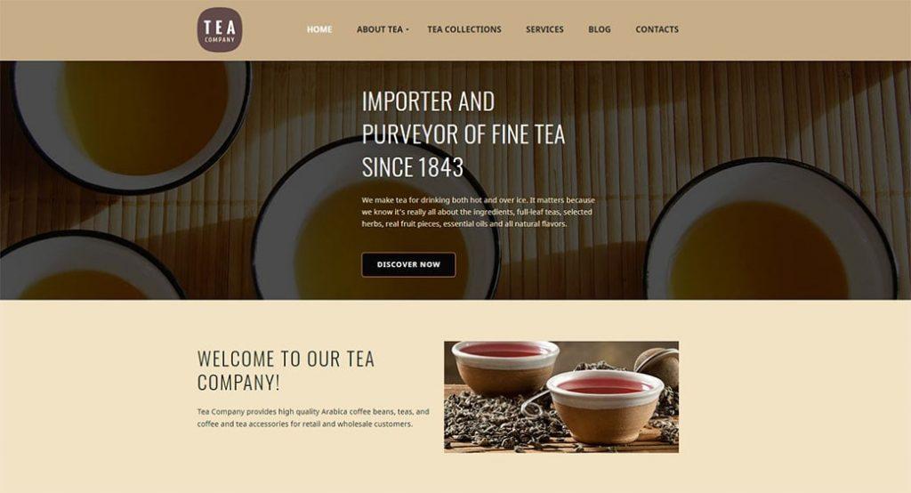 Website vorlage für ein Teeshaus