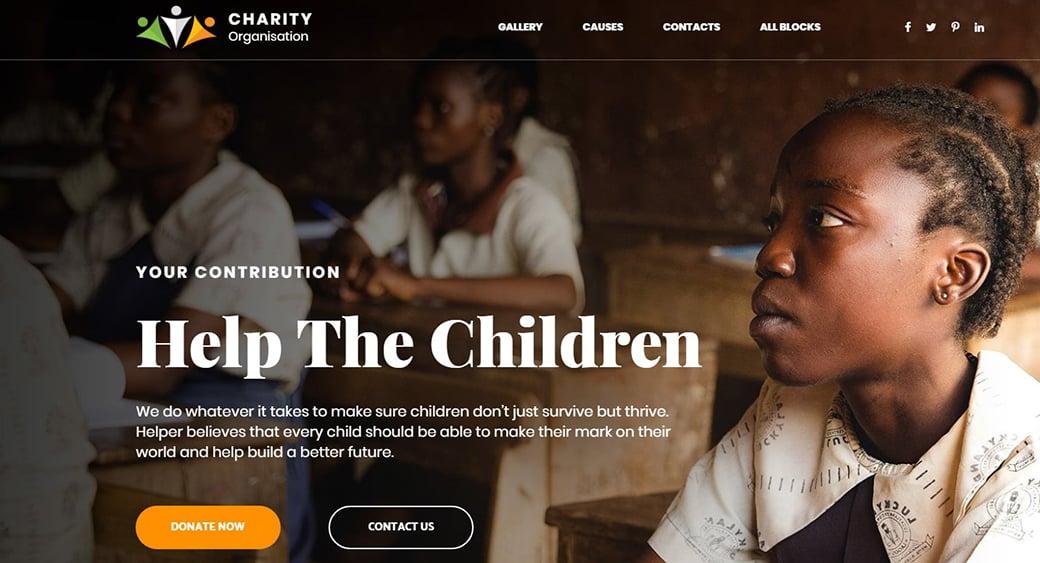 Landingpage-Vorlage aus der Kategorie Wohltätigkeit