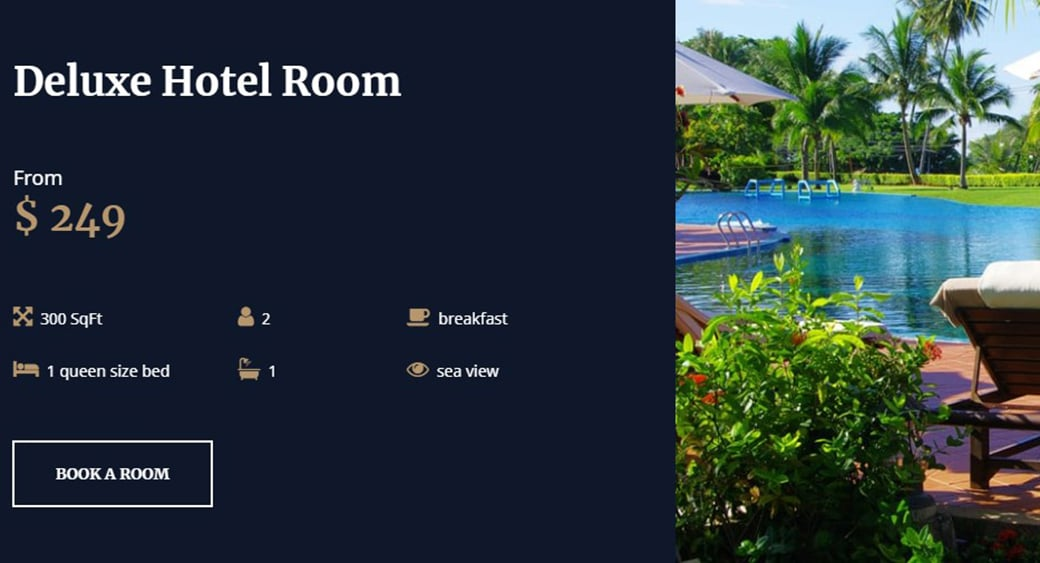 luxury hotel with booking