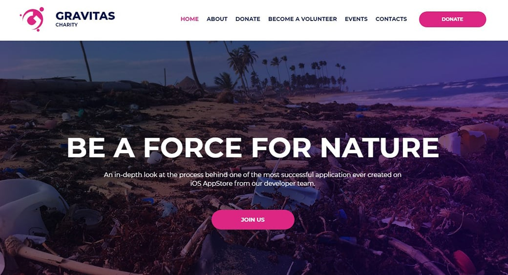 Speichern Sie das Planet Website Design, um mit Umweltverschmutzung zu kämpfen