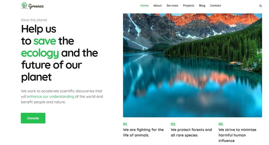 зеленый дизайн сайта на экологическую тематику