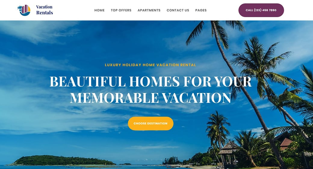 resort landing page website