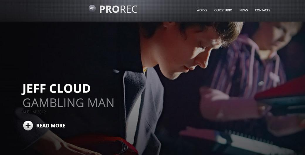 создать сайт музыки шаблон сайта Prorec