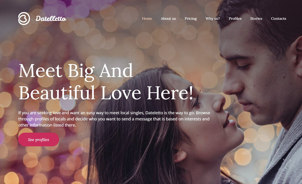 Datelletto dating website design image
