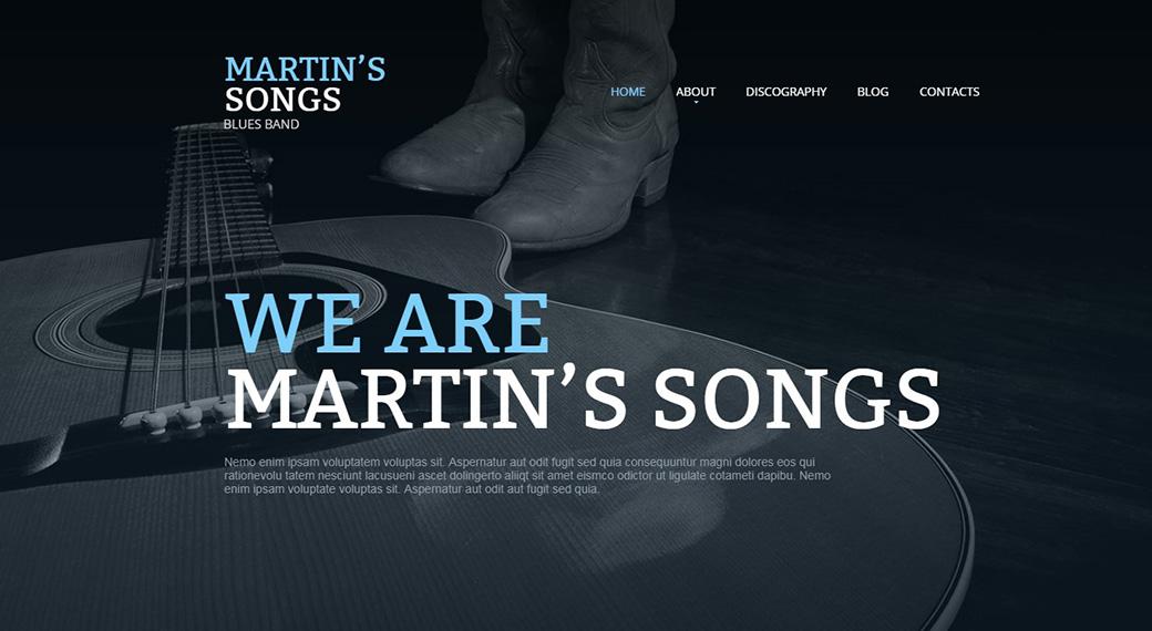 создать сайт музыки шаблон сайта Martin's Songs
