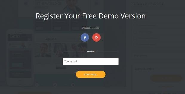 How to make a business website - demo registration