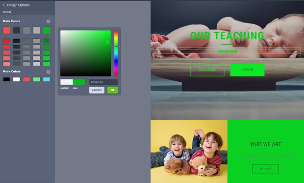 How to make a family website - color picker green