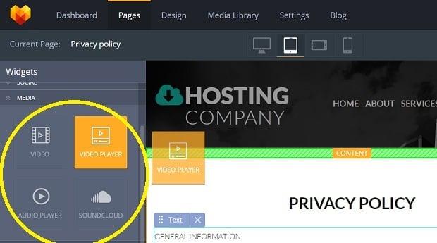 How to make a hosting website - video player widget