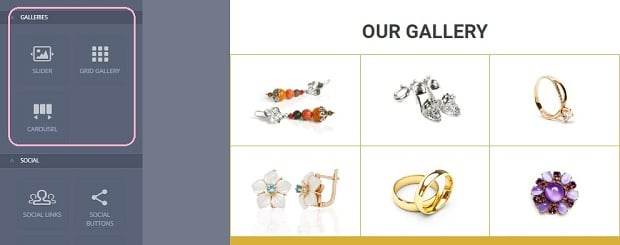 How to make a jewelry website - galleries