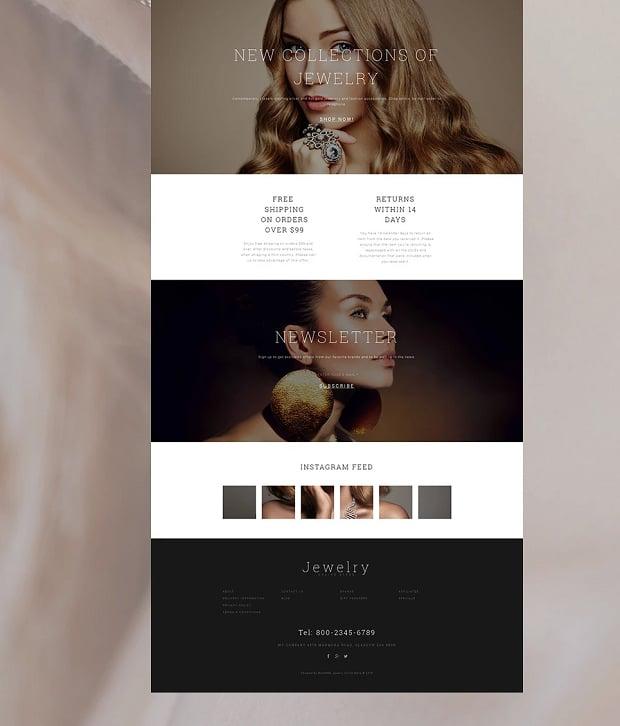 How to make a jewelry website - shop bottom